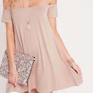 Nude Off Shoulder Dress