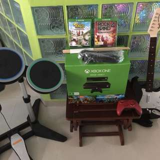 Xbox 1 with kinect & rockband bundle with additional controller & 4 free games