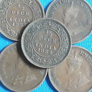 10 COINS LOT - British India - ½ Pice - George V 1912-1936 Bronze – 2.4 g – ø 20