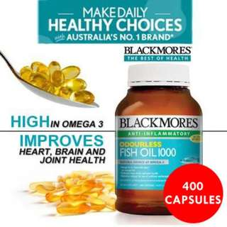 Blackmore's  Odourless Fish Oil Tablets 400s