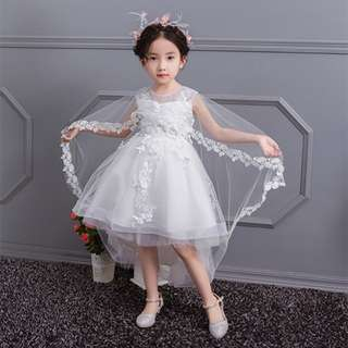 Elegant Long Shawl Lacy Flower Girl Evening Dress Birthday Gown White