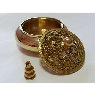 Brass Round Incense Burner w/Lid 亮黄铜经典香炉