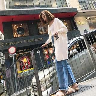 Minimei追加款✪韓系韓版歐美風百搭休閒微喇叭褲女高腰毛邊直筒闊腿牛仔褲顯瘦長褲