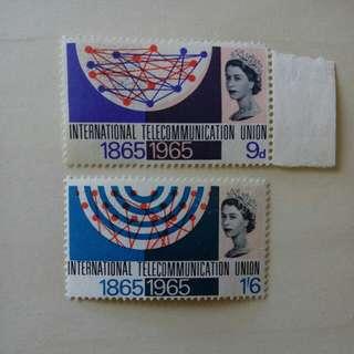 [lapyip1230] 英國 1965年 國際電訊100年 原膠新票無背貼 Set MNH