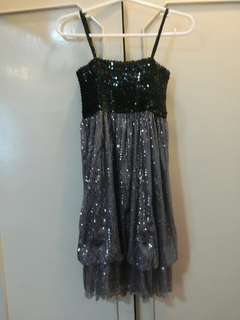 Black and grey sequined dress