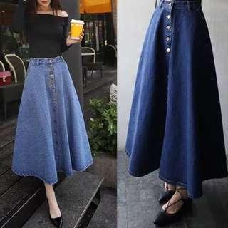 韓風人氣傘狀修身牛仔長裙(淺藍)