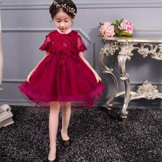 Elegant Shawl Lacy Flower Girl Evening Dress Birthday Gown Maroon