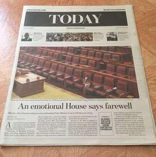 Today Newspaper Lee Kuan Yew