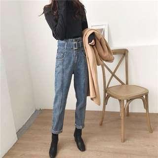 ❤️韓版 高腰 BF 復古 顯瘦 腰帶 個性 丹寧 牛仔褲 水洗 寬鬆 多尺碼可選  必備 哈倫 修身