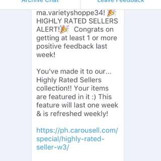 3rd Time Highly Rated Seller! (Thank You Carousell)