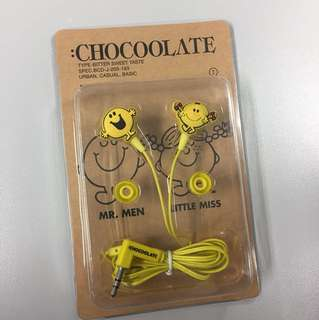 Chocoolate x mr men and little miss earphone 耳筒 全新未開封