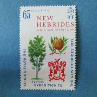 [lapyip1230] 全球獨有-英法共同管理(新赫里布斯) 1971年 皇家學會 原膠新票無背貼 Set MNH