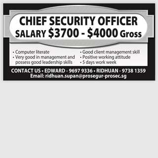 Hiring for Chief Security Officer(with Experience)