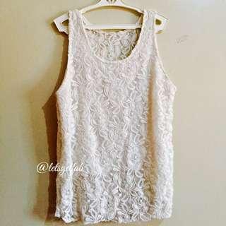 🌸Classy Off White Lace Sleeveless