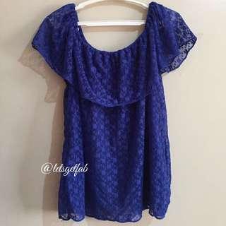 🌸Classy Blue Lace Off Shoulder Blouse