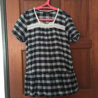Checkered babydoll blouse