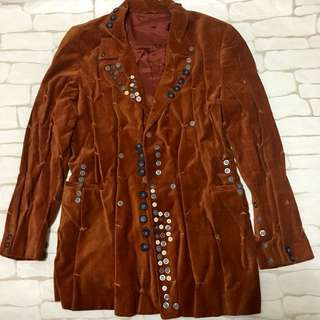 Fashionable rust velvet blazer suit with buttons detail
