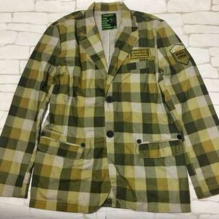 Urbanize Checkered blazer with military patch
