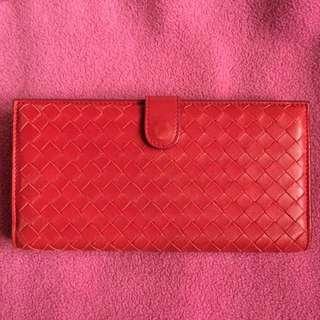 BOTTEGA VENETA bv wallet 紅色織皮銀包