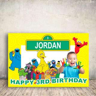 Customized Sesame street, Elmo, Cookie Monster Birthday Banner, Bunting, Backdrop