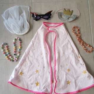 Girls cape, mask and accessories