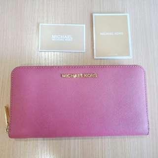Like NEW Michael Kors Authentic Women Long Wallet Large Pink Purple leather dompet branded asli original