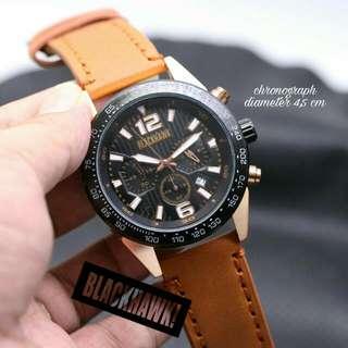 Jam tangan Blackhawk rose kulit B84 tgl + crono aktif D.4,5