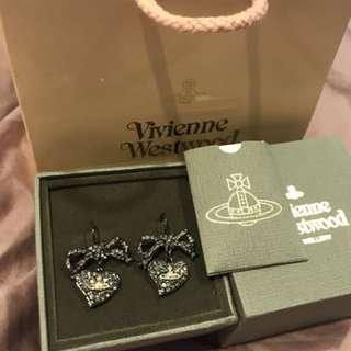 Westwood earring 高貴黑銀閃石耳環