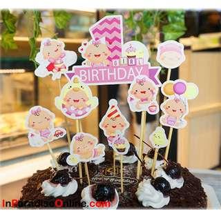 DIY Baby Girl 1st Birthday Cake Toppers