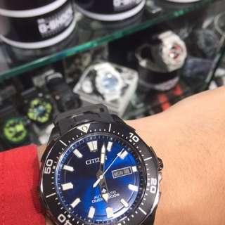 旺角門市 現貨 Citizen NY0075-12L 黑鈦膠帶 自動錶 行貨 三年保養