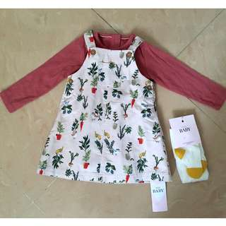 M&S Marks & Spencer Baby Girls Outfit / Dress / Tights - Size 9-12 Months BRAND NEW WITH TAGS