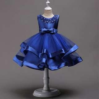 Elegant Sleeveless Beading Evening Dress Flower Girl Gown Champagne 4-8y