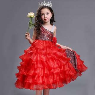 One Shoulder Organza Kids Pageant Princess Ball Red Gown 7-16Y