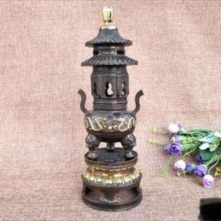 銅制鎏金雙龍香爐