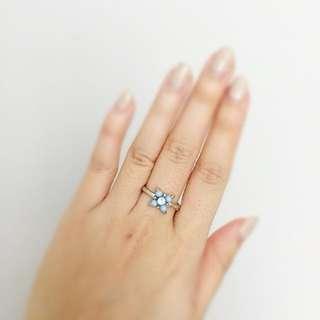Vintage Powder Blue Flower Ring - Small