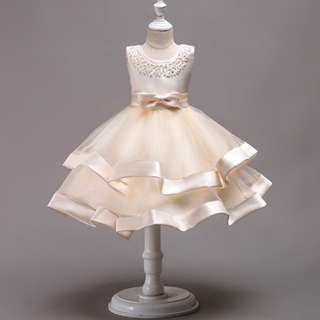 Elegant Sleeveless Beading Evening Dress Flower Girl Gown Champagne 4-8y