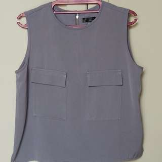 Grey Two Pocket Sleeveless