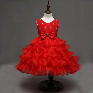 Pretty Ruffles Big Ribbon Red Dress Gown 6m-24mth