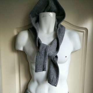 【銅板價出清1件30】灰色毛呢連帽針織圍巾-男女皆可