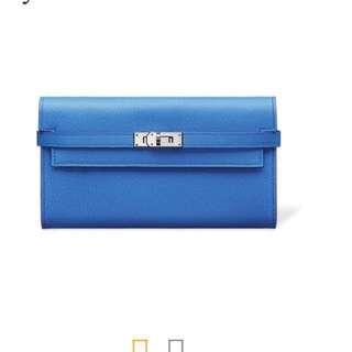 Hermes Kelly Wallet Epsom Blue Zanzibar Bag Clutch 長銀包