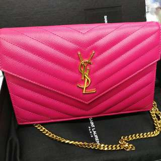 YSL WOC Wallet on chain 19cm 9成新 桃紅色