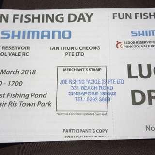 Shimano fishing comp ticket