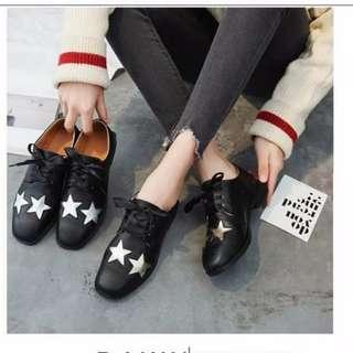 韓版原宿英倫風星星系帶小皮鞋