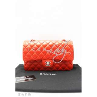 (Sale Promotion) CHANEL A01112 Classic Medium 橙紅色小羊皮雙C扣銀鏈(中號) 肩背袋 手袋
