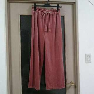 日牌WEGO粉紅色絨毛長褲