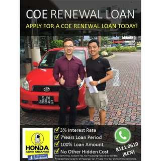 Toyota COE Renewal 100% Loan