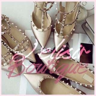 Valentino同款 玫瑰金卯釘平底鞋