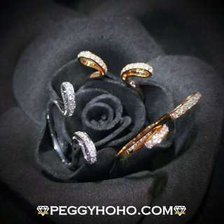 【Peggyhoho】全新18K 3色彩金43份鑽石套戒 3隻戒指  玫瑰金系列   獨特型格