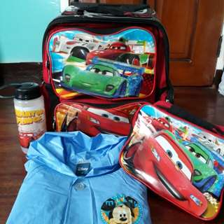 Preloved Cars Trolley School bag with Essential School Items
