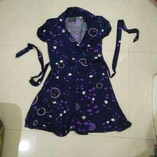 preloved dress merk fashion world made in spain size M model kimono bahan adem bgt